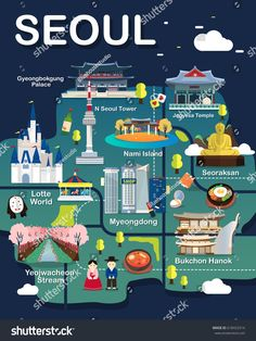 Map Of Seoul Attractions Vector And Illustration. : Map Of Seoul Attractions Vector And Illustration. Seoul Korea Travel, South Korea Seoul, Seoul Map, Seoul Korea Tourist Spots, Korean Words Learning, Korean Language Learning, Travel Maps, Asia Travel, Seoul Attractions