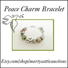 Peace Charm Bracelet by martysattic on Polyvore featuring modern and vintage