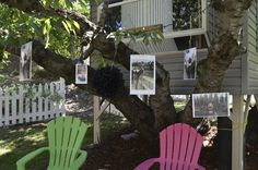 PIctures of the Bride and Groom in an old Cherry Tree with treehouse Outdoor Chairs, Outdoor Decor, Sister Wedding, Cherry Tree, Treehouse, Fairytale, Groom, Bride, Creative