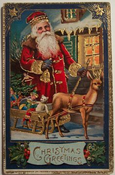 Vintage Christmas Postcard Santa by riptheskull, via Flickr