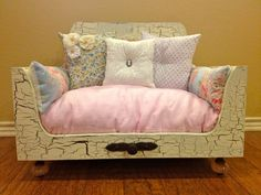 Crackled Luxury Pet Bed, Shabby Chic Pet Bed, Cat Bed, Dog Bed, Lounger, Cat, Dog, Pet, Bed on Etsy, $650.00