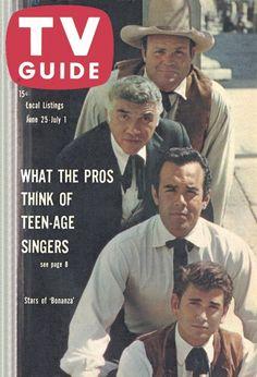 "TV Guide: June 25, 1960 - Stars of ""Bonanza"" - Dan Blocker, Lorne Greene, Pernell Roberts and Michael Landon"
