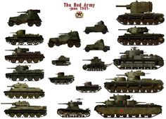 Collection of Soviet armoured cars, tankettes, light, medium & heavy tanks from 1941.