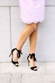 Black Bow Tie Sandals. Shoes. Black Heels. Valentine's look. Valentine's Style.