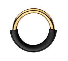 "Loop Oversize Hermes leather bracelet (Size S) Swift calfskin Gold plated, 2.6"" diameter."