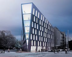 a flexible combination of retail, office, and top-level residential units, the office is situated at a prominent intersection in the latvian capital, riga.