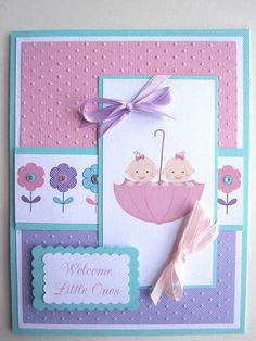 Twin baby girls card can be PERSONALIZED with babies names