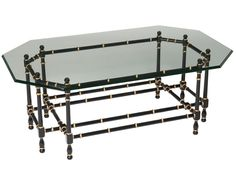 Classic cocktail table with bamboo-turned base, glass top, from Kindel Furniture, available through Robert Allen/Beacon Hill Furniture in Suite #108.