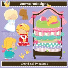 Little storybook princess icons for the perfect royal themed   party! This set is wonderful for      party  invitations, gift bags and   more! The simple lines   are   great     for  embroidery as well!