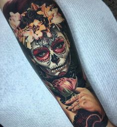 Flowery Day of the Dead Forearm Piece | Best tattoo ideas & designs #beautytatoos