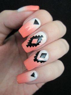 gradient aztec nails