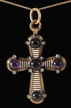 John Joseph Pendants Victorian gold and enamel cross with amethyst cabochons and rose cut diamonds  Circa 1860