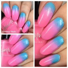 ehmkay nails: Neon Cotton Candy Gradient with KBShimmer Makeup Sponge, Creative Nails, Blue Nails, Cotton Candy, Pink Purple, Nail Designs, Things To Think About, Nail Art, Neon