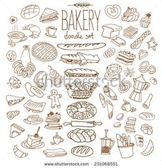 Set Of Various Doodles, Hand Drawn Rough Simple Bread And Pastry Sketches. Isolated On Background Ilustración vectorial en stock 231068551 : Shutterstock