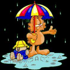 Garfield Gifs images and Graphics. Garfield Pictures and Photos. Garfield Cartoon, Garfield Images, Garfield And Odie, Garfield Comics, Cartoon Gifs, Animated Cartoons, Cartoon Characters, Animated Gif, Rain Gif