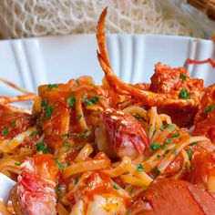 These are the first very special dishes prepared with spaghetti alla chitarra with lobster sauce . The spaghetti alla chitarra are . Pasta With Lobster Sauce, Lobster Spaghetti, Lobster Recipes, Seafood Recipes, Great Recipes, Dinner Recipes, Italian Pasta Dishes, Lotsa Pasta, Spaghetti Recipes