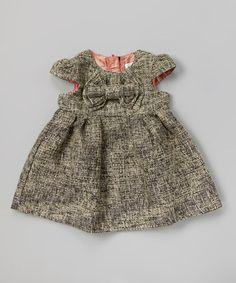 Black & White Tweed Bow Dress - Infant, Toddler & Girls