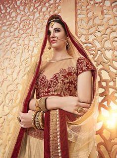 Cream & Maroon Butterfly Net Bridal Lehenga Choli Shop ,Indian Dresses - 2