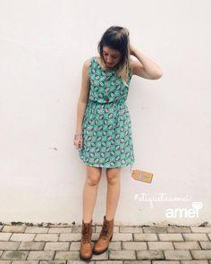 Ser feliz com pouco #etiquetaamei  #lojaamei #vestido #menta #verdementa