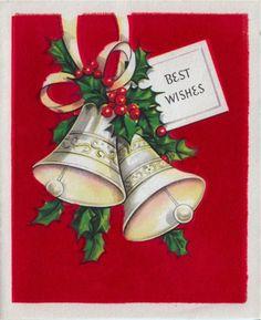 Vintage Greeting Christmas Card Bells Flocked L367