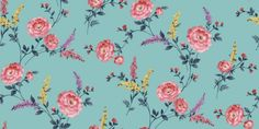 Posie Azure (950806) - Sophie Conran Wallpapers - A pretty retro 1940's feel floral trail with multicoloured flowers.  Shown here in pink, yellow and lilac on a strong blue background.  Paste the wall. Please request sample for true colour match.