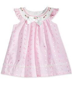 Bonnie Baby Flutter-Sleeve Eyelet Trapeze Dress, Baby Girls months) - All Baby - Kids & Baby - Macy's Baby Frocks Designs, Kids Frocks Design, Baby Girl Dress Patterns, Baby Dress, Toddler Girl Dresses, Little Girl Dresses, Girls Dresses, Newborn Girl Outfits, Kids Outfits