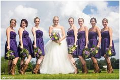 Bridesmaids with cowgirl boots!