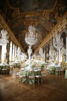 ballroom reception with French chandeliers