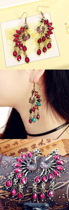 US$5.59+Free shipping. Material: Alloy, Crystal. Color: Multi-color, Purple, Red, Blue. Love vintage style! Women's Jewelry, Women's Earrings, Women's Fashion, Christmas Accessories.