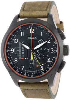 Amazon.com: Timex Men's Iq T2P276 Green Leather Analog Quartz Watch with Black Dial: Timex: Clothing