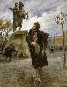 """Владимир Федорович Стожаров (1926-1973) Пушкин и """"Медный всадник"""". 1946 г."""