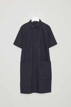 COS image 5 of Shirt dress with pockets in Dark Navy