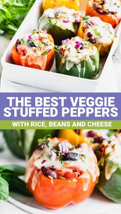 These easy Veggie Stuffed Bell Peppers with Italian flavors have beans, rice and cheese and are ready in just 40 minutes! Easy Vegetarian Stuffed Peppers, Veggie Stuffed Peppers, Italian Stuffed Peppers, Best Dinner Recipes, Vegetarian Recipes Dinner, Healthy Recipes, Meal Recipes, Healthy Meals, Healthy Side Dishes