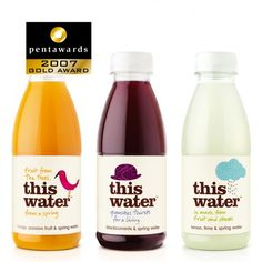 This is some of 'This Water' Drinks packaging. There labels have the text  taking up most of the room and a simplistic picture which give the labels a formal yet playful feel. Its well designed and is a fun simple design.