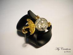 caoutchouc ring (golden umbrella, bead) Stud Earrings, Beads, Jewelry, Fashion, Natural Rubber, Beading, Moda, Jewlery, Bijoux