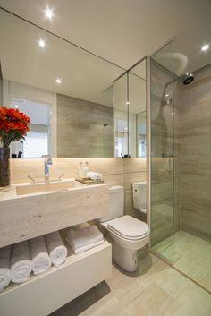 Por Claudia e Chris ✨. Modern Bathroom Design, Bathroom Interior Design, Interior Design Living Room, White Bathroom, Small Bathroom, Home Room Design, House Design, Small Apartment Interior, Tiny Apartments