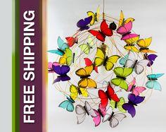 """Lámparas colgantes - Lampara con mariposas multicolores """"Tutti frutti"""" - hecho a mano por Marcela-Delacroix en DaWanda"""
