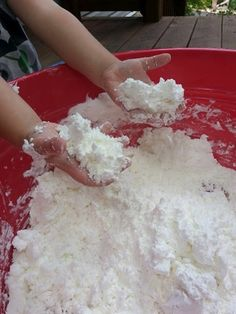 Fluffy Stuff (2 boxes cornstarch and 1 can shaving cream; color if desired) -- moldable. Havent seen this before.