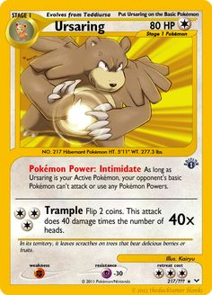 Neo Revival 65 - Ursaring by KataraWaterbender Fake Pokemon Cards, Pokémon Cards, Social Community, Deviantart