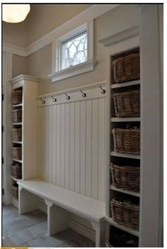 Love the shelves and hooks! Maybe at my door near the heater