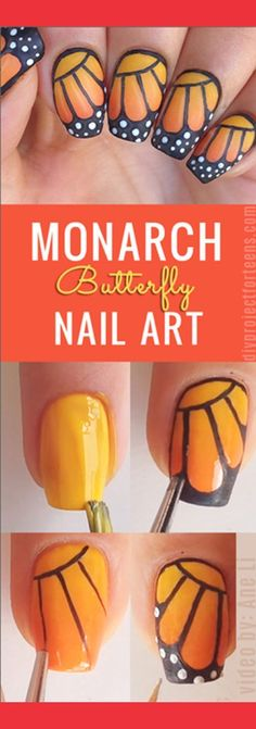 Cool Nail Art Ideas - How to do monarch butterfly nail art - tutorial Love butterflies? If so, you have to try this monarch butterfly nail art tutorial. One of my top 10 favorite nail art designs. Trendy Nail Art, Cute Nail Art, Nail Art Diy, Easy Nail Art, Diy Nails, Cute Nails, Nail Nail, How To Nail Art, Top Nail