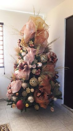 pino navideo en tonos rosa oro cobre rosegold tree pink christmas - Pink And Gold Christmas Decorations
