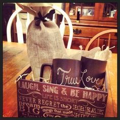 Bridal shower gift... Chalkboard coffee mugs for love notes <3