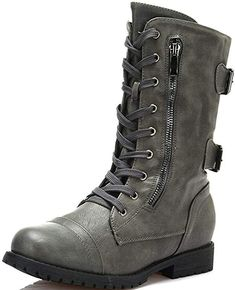 Amazon.com   DREAM PAIRS Women's Terran Grey Mid Calf Built-in Wallet Pocket Combat Boots - 7.5 M US   Mid-Calf Combat Boots Style, Military Combat Boots, Mid Calf Boots, Knee High Boots, Stylish Boots For Women, Only Shoes, Chunky Boots, Grey Boots, Kinds Of Shoes