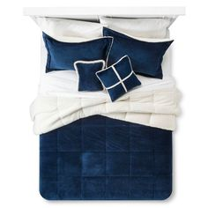 Solid Velvet with Sherpa Reverse Comforter Set (