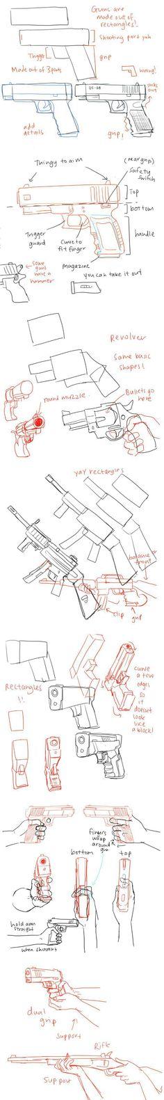 Passo a passo, como desenhar arma.