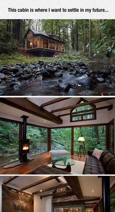 Dreamy cabin with a stream running alongside it, tucked into a forest- the great outdoors, nature sublime