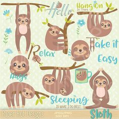 Sloth Clipart-Sloth Clip Art-Kawaii Clipart-Cute Sloth on a branch, Sleeping Sloth, Monkey Clipart-Flower clipart Doodle Characters, Cute Sloth, Flower Clipart, My Spirit Animal, Digital Collage, Art Lessons, Doodles, Wallpaper, Clip Art