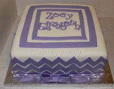 purple chevron (shower cake)