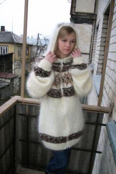 Extreme Knitting, Icelandic Sweaters, Mohair Sweater, Fur Coat, Women's Fashion, Magic, Island, Zipper, Long Hair Styles